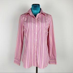 J. Crew Factory Pink Striped Button Down Shirt